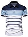 رجالي قميص الجولف قميص تنس مخطط كم قصير فضفاض قمم موضة أسود أزرق البحرية