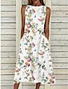 Women\'s A Line Dress Midi Dress White Sleeveless Floral Pocket Print Spring Summer Round Neck Elegant Casual 2021 S M L XL XXL XXXL