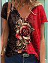 Dámské Květinový motiv Tričko Květinový Rostliny Do V Topy Základní Základní top Fialová Rubínově červená Oranžová