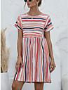 Women\'s A Line Dress Short Mini Dress Orange pink Orange white Blue khaki Short Sleeve Stripes Smocked Spring Summer Round Neck Casual 2021 S M L XL