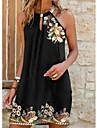 Women\'s Sheath Dress Short Mini Dress Black Sleeveless Pattern Cold Shoulder Summer Halter Neck Hot Casual 2021 S M L XL