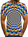 Men\'s Unisex Tee T shirt Shirt 3D Print Optical Illusion Graphic Prints Plus Size Print Short Sleeve Casual Tops Basic Fashion Designer Big and Tall Round Neck Blue