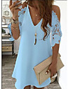 Women\'s Shift Dress Short Mini Dress Light Blue White Red Yellow Blushing Pink Black Navy Blue Half-Sleeve Solid Colored Hollow-out Openwork Cold Shoulder Navel Summer V Neck Chic & Modern Vacation