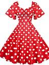 Women\'s A Line Dress Midi Dress Blue Green White Black Red Short Sleeve Dot Summer Vintage 2021 S M L XL XXL