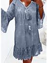 Women\'s Sundress Short Mini Dress Blue Khaki Short Sleeve Solid Color Lace Summer V Neck Casual Sexy 2021 S M L XL XXL