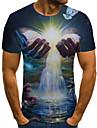 男性用 男女兼用 Tシャツ 3Dプリント グラフィック 手 プラスサイズ プリント 半袖 カジュアル トップの ベーシック ファッション デザイナー 大きくて背が高い ブルー