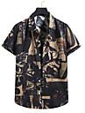 Men\'s Shirt Floral Short Sleeve Street Tops Lightweight Fashion Tropical Cool Button Down Collar A / Beach