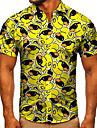 男性用 シャツ 3Dプリント グラフィック あひる ボタンダウン 半袖 ストリート トップの カジュアル ファッション クラシック 高通気性 イエロー