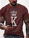 Herren Tee T-Shirt Hemd 3D-Druck Grafik-Drucke Buchstabe Druck Kurzarm Alltag Oberteile Freizeit Designer Gross und hoch Rundhalsausschnitt Gelb Grau Rote / Sommer