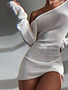 Women\'s A Line Dress Short Mini Dress Khaki Black Beige Long Sleeve Solid Color Backless Summer Round Neck Casual Sexy Holiday Slim 2021 S M L XL