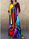 Women\'s Shift Dress Maxi long Dress Purple 3/4 Length Sleeve Color Block Abstract Print Fall Summer Round Neck Casual Holiday 2021 S M L XL XXL 3XL