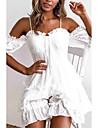 Women\'s Strap Dress Short Mini Dress White Short Sleeve Solid Color Spring Summer Off Shoulder Casual 2021 S M L XL
