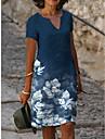 Női A vonalú ruha Térdig érő ruha Medence Rövid ujjú Virágos Nyomtatott Tavasz Nyár V-alakú Alkalmi 2021 S M L XL XXL 3XL
