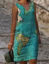 Women\'s A Line Dress Knee Length Dress Light Blue Blue Green Sleeveless Print Casual 2021 S M L XL XXL XXXL 4XL