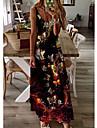 여성용 A 라인 드레스 맥시 드레스 블랙 민소매 버터플라이 동물 프린트 여름 V 넥 캐쥬얼 홀리데이 2021 S M L XL XXL 3XL