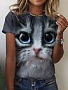 여성용 3D 고양이 T 셔츠 고양이 그래픽 3D 프린트 라운드 넥 베이직 탑스 그레이