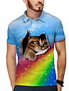 Pánské Golfová košile Tenisové tričko 3D tisk Duhová Kočka Zvíře Tlačítko dolů Krátký rukáv ulice Topy Na běžné nošení Módní Chladný Vodní modrá / Sport