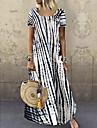 여성용 스윙 드레스 맥시 드레스 푸른 퍼플 옐로우 그레이 클로버 화이트 블랙 루비 짧은 소매 프린트 프린트 봄 여름 라운드 넥 캐쥬얼 2021 S M L XL 2XL 3XL 4XL 5XL