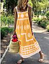 Women\'s Strap Dress Midi Dress Purple Yellow Gray Green Red Sleeveless Geometric Ruched Patchwork Spring Summer Square Neck Ethnic Style Casual Boho Beach 2021 S M L XL XXL XXXL 4XL 5XL