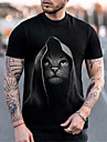 Hombre Tee Camiseta Camisa Impresion 3D Gato Grafico Tallas Grandes Manga Corta Casual Tops Basico De Diseno Corte Slim Grande y alto Negro