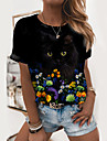 Dámské Květinový motiv 3D kočka Obraz Tričko Květinový Kočka 3D Tisk Kulatý Základní Topy Černá