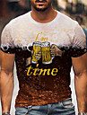 Men\'s Tee T shirt Shirt 3D Print Graphic Prints Beer Print Short Sleeve Daily Tops Casual Designer Big and Tall Brown