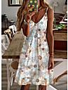 Women\'s A Line Dress Short Mini Dress Beige Sleeveless Flower Spring Summer Casual 2021 S M L XL XXL