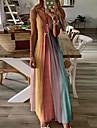 Γυναικεία Φόρεμα με λεπτή τιράντα Μακρύ φόρεμα Θαλασσί Βυσσινί Γκρίζο Πράσινο του τριφυλλιού Πορτοκαλί Ρουμπίνι Αμάνικο Ουράνιο Τόξο Διαβάθμιση χρώματος Ριγέ Άνοιξη Καλοκαίρι Λαιμόκοψη V