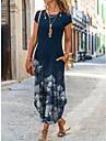 Női Pólóruha Maxi hosszú ruha Sötétkék Rövid ujjú Virágos Nyomtatott Zseb Nyomtatott Tavasz Nyár Kerek Alkalmi 2021 S M L XL XXL XXXL