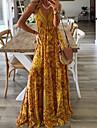 Γυναικεία Φόρεμα με λεπτή τιράντα Μακρύ φόρεμα Βυσσινί Κίτρινο Ανθισμένο Ροζ Πράσινο του τριφυλλιού Σκούρο μωβ Ρουμπίνι Αμάνικο Αφηρημένο Στάμπα Άνοιξη Καλοκαίρι κρύος ώμος Μπόχο Αργίες 2021 Τ M L XL