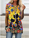 Női Póló Virágos Cica Grafika Nyomtatott Kerek Felsők Alap Alapvető felső Medence Bíbor Rubin