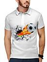 Homens Camisa de golfe Camisa de tenis Impressao 3D Futebol Americano Botao para baixo Manga Curta Casual Blusas Casual Moda Legal Branco / Esportes