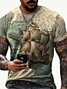 Hombre Tee Camiseta Camisa Impresion 3D Mapa Estampados Huella dactilar Estampado Manga Corta Diario Tops Casual De Diseno Grande y alto Escote Redondo Amarillo Claro Negro / Gris Azul Piscina