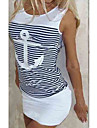 Women\'s Sheath Dress Knee Length Dress Blue White Sleeveless Pattern Stripes Spring Summer Casual 2021 S M L XL XXL