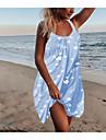 Women\'s Strap Dress Knee Length Dress Light Blue Sleeveless Daisy Floral Solid Color Summer Hot Elegant 2021 S M L XL XXL 3XL