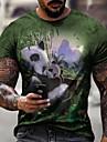 Муж. Футболки Футболка Рубашка 3D печать Графика Панда Большие размеры С короткими рукавами Повседневные Верхушки Классический Оригинальный рисунок Облегающий крой Большой и высокий Серый Зеленый