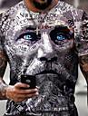 Hombre Tee Camiseta Camisa Impresion 3D Grafico Cara humana Tallas Grandes Manga Corta Casual Tops Basico De Diseno Corte Slim Grande y alto Negro / Blanco Amarillo Gris / Verano