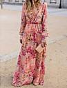 Women\'s Swing Dress Maxi long Dress Blushing Pink Long Sleeve Floral Print Spring Summer Deep V Elegant Boho Holiday Beach 2021 S M L XL XXL XXXL / Chiffon