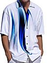 Men\'s Shirt 3D Print Linear Plus Size 3D Print Button-Down Short Sleeve Casual Tops Casual Fashion Breathable Comfortable Blue / Sports