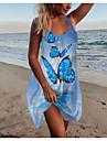 Women\'s Strap Dress Short Mini Dress Blue Green Sleeveless Print Butterfly Print Spring Summer Round Neck Casual Holiday 2021 S M L XL XXL 3XL