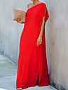 Γυναικεία Φόρεμα ριχτό από τη μέση και κάτω Μακρύ φόρεμα Θαλασσί Μαύρο Ρουμπίνι Αμάνικο Συμπαγές Χρώμα Σκίσιμο Φθινόπωρο Καλοκαίρι Ένας Ώμος Κομψό Καθημερινό 2021 Τ M L XL