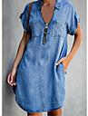 Women\'s Denim Shirt Dress Knee Length Dress Blue Short Sleeve Solid Color Zipper Pocket Fall Spring Shirt Collar Casual Holiday 2021 S M L XL XXL 3XL / Cotton / Cotton