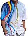 男性用 シャツ 3Dプリント 直管形 プラスサイズ 3Dプリント ボタンダウン 半袖 カジュアル トップの カジュアル ファッション 高通気性 快適 ブルー / スポーツ