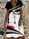 Women\'s T Shirt Dress Tee Dress Knee Length Dress Black Short Sleeve Abstract Print Spring V Neck Elegant 2021 S M L XL XXL 3XL