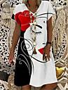 Women\'s T Shirt Dress Tee Dress Knee Length Dress Red Short Sleeve Floral Abstract Print Spring Summer V Neck Casual Holiday 2021 S M L XL XXL 3XL