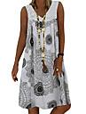 Women\'s Shift Dress Knee Length Dress Gray Green White Sleeveless Print Geometric Print Spring Summer V Neck Casual 2021 S M L XL XXL 3XL 4XL 5XL