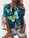 Dámské Motýl Obraz Tričko Grafika Motýl Tisk Kulatý Základní Topy Trávová zelená