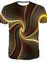 בגדי ריקוד גברים חולצה קצרה חולצה גראפי מופשט 3D דפוס שרוולים קצרים יומי צמרות בסיסי מעצב גדול וגבוה צווארון עגול צהוב