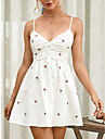 Women\'s Strap Dress Short Mini Dress White Sleeveless Solid Color Backless Ruched Summer V Neck Casual Holiday 2021 XS S M L XL / Cotton / Cotton