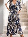 Women\'s Chiffon Dress Maxi long Dress Navy Blue Half Sleeve Floral Fall Winter V Neck Casual Boho 2021 S M L XL XXL XXXL